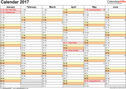 Template 3: Yearly calendar 2017 as Excel template, landscape orientation, 2 pages, months horizontally, days vertically, with UK bank holidays and week numbers