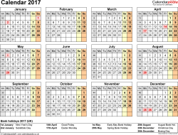 Template 8: Yearly calendar 2017 as PDF template, year overview, 1 page