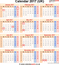 Calendar 2017 UK with bank holidays & Excel/PDF/Word templates
