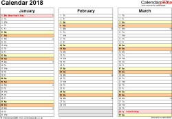 Template 5: Yearly calendar 2018 as Word template, landscape orientation, 4 pages, months horizontally, days vertically, with UK bank holidays and week numbers