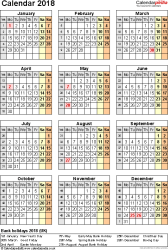 Template 16: Yearly calendar 2018 as PDF template, portrait orientation, one A4 page