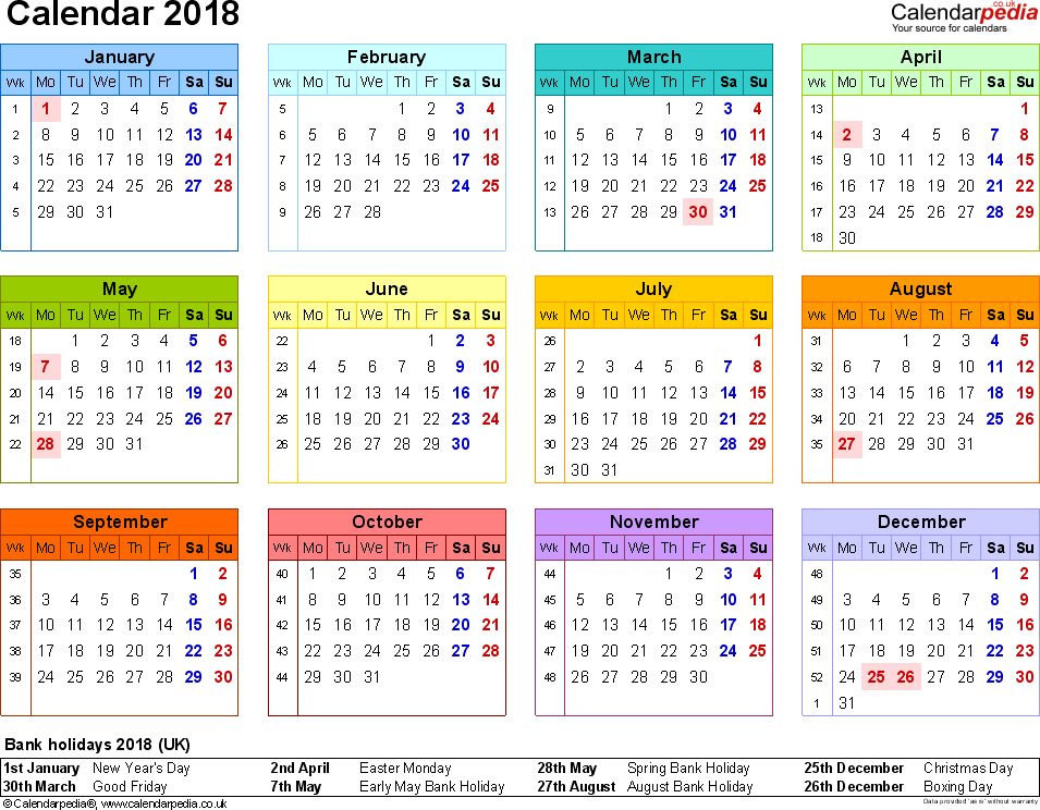 Template 8: Yearly calendar 2018 as PDF template, landscape orientation, year at a glance in colour, 1 page