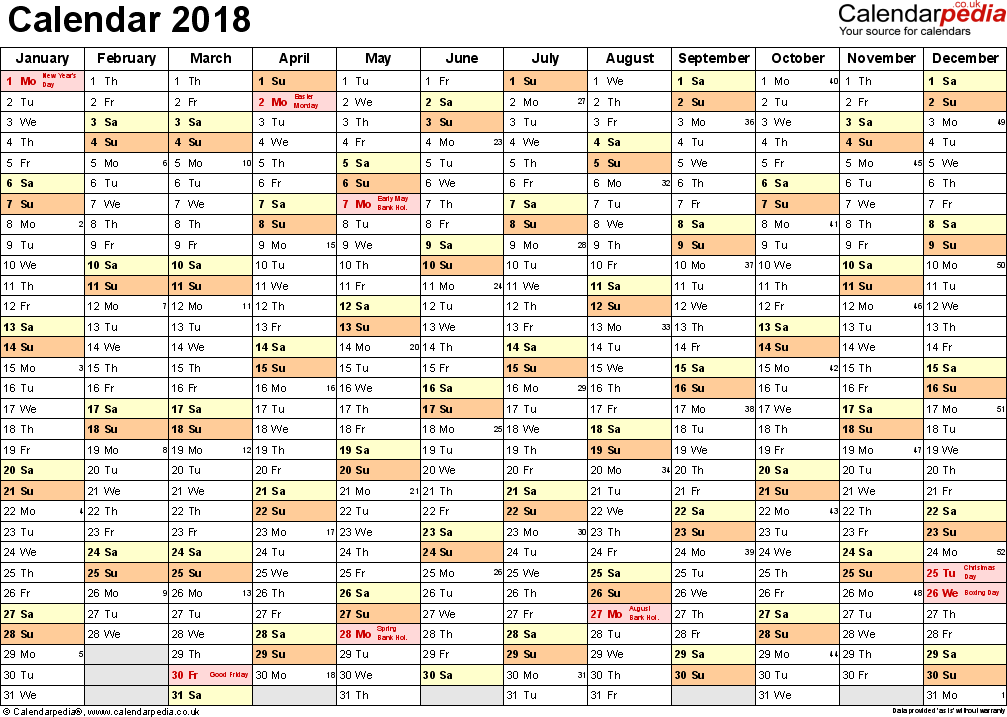 Template 2: Yearly calendar 2018 as Word template, landscape orientation, A4, 1 page, months horizontally, days vertically, with UK bank holidays and week numbers