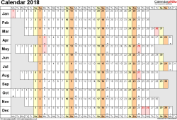 Template 7: Yearly calendar 2018 as Excel template, landscape orientation, 1 page, linear (days horizontally, months vertically), with UK bank holidays and week numbers