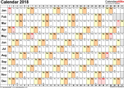 Download Template 6: Yearly calendar 2018 for PDF, landscape orientation, 1 page, linear (days horizontally, months vertically), with UK bank holidays and week numbers