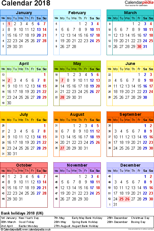 Download Template 15: Yearly calendar 2018 for Microsoft Word, portrait orientation, year at a glance in colour, one A4 page