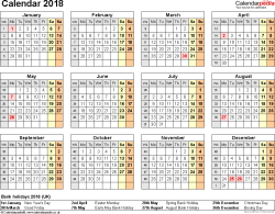 Template 9: Yearly calendar 2018 as PDF template, year at a glance, 1 page
