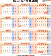 Download calendar 2018 (UK edition) as PNG file
