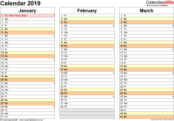 Template 5: Yearly calendar 2019 as Word template, landscape orientation, 4 pages, months horizontally, days vertically, with UK bank holidays and week numbers