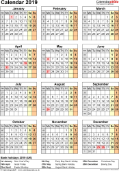 Download Template 17: Yearly calendar 2019 for PDF, portrait orientation, one A4 page