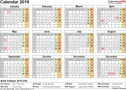 Template 9: Yearly calendar 2019 as Excel template, year at a glance, 1 page