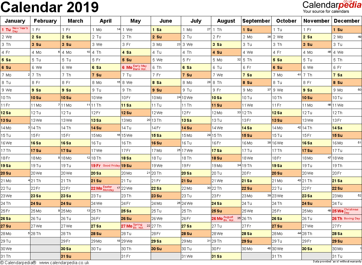 Template 2: Yearly calendar 2019 as Excel template, landscape orientation, A4, 1 page, months horizontally, days vertically, with UK bank holidays and week numbers