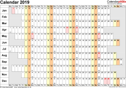 Template 7: Yearly calendar 2019 as Word template, landscape orientation, 1 page, linear (days horizontally, months vertically), with UK bank holidays and week numbers