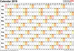 Template 6: Yearly calendar 2019 as Word template, landscape orientation, 1 page, linear (days horizontally, months vertically), with UK bank holidays and week numbers