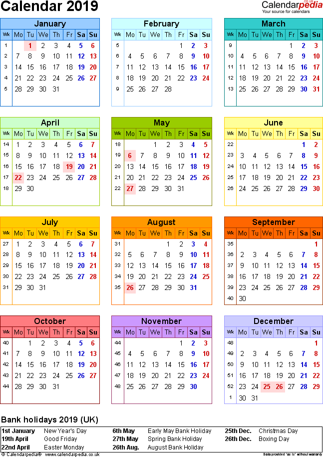 Template 10: Yearly calendar 2019 as PDF template, portrait orientation, year at a glance in colour, one A4 page