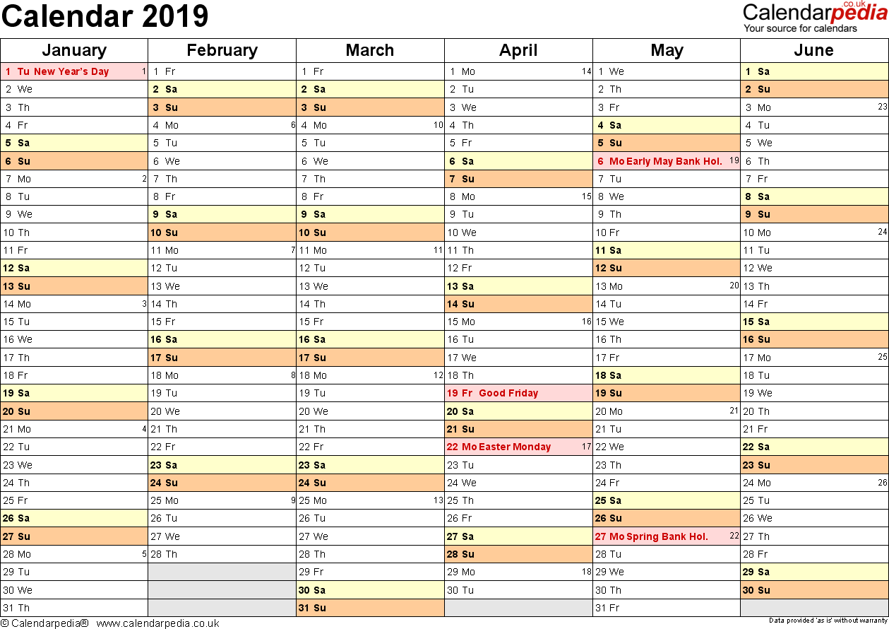 Template 3: Yearly calendar 2019 as Excel template, landscape orientation, 2 pages, months horizontally, days vertically, with UK bank holidays and week numbers