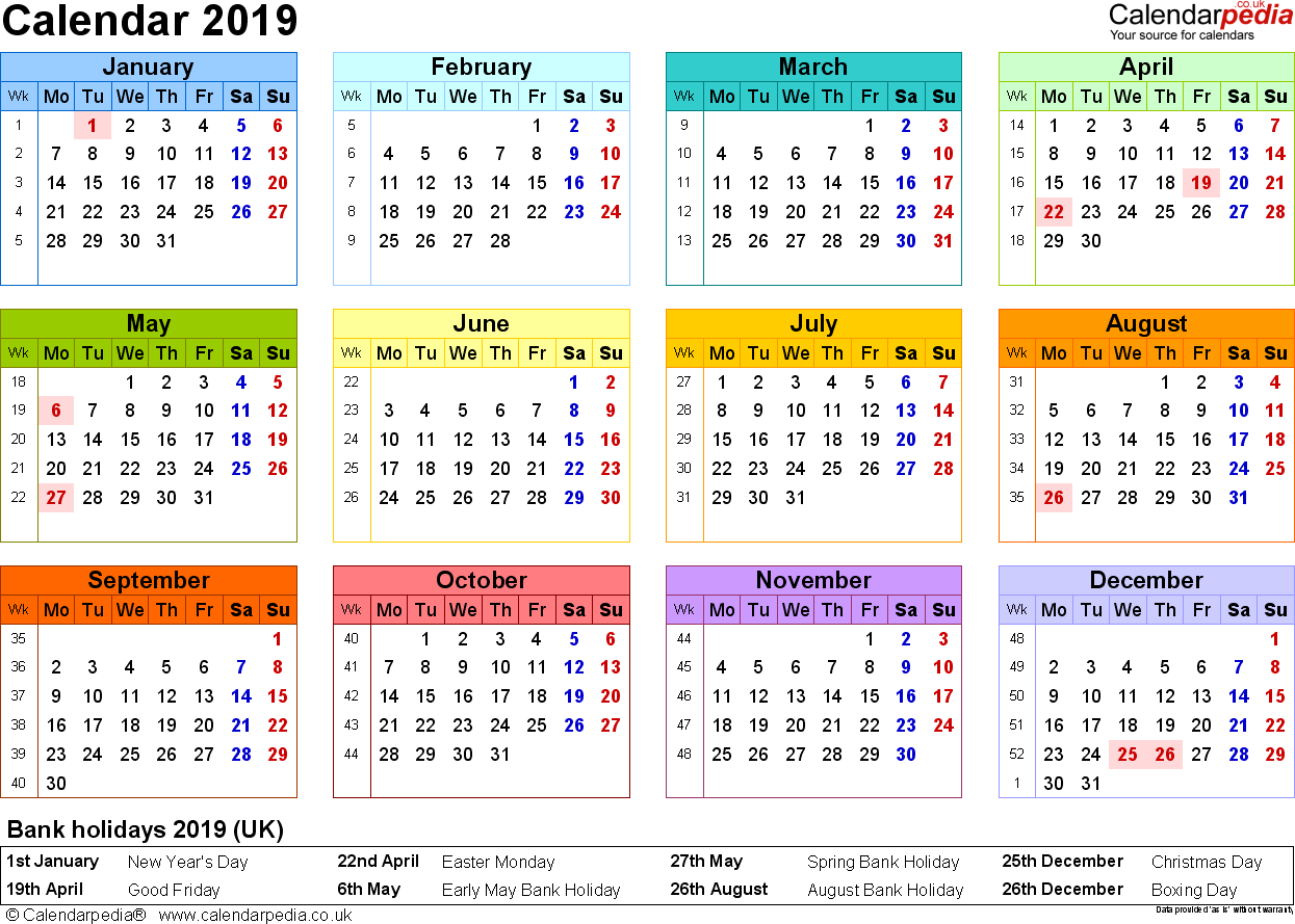 Template 8: Yearly calendar 2019 as PDF template, landscape orientation, year at a glance in colour, 1 page