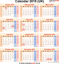 Calendar 2019 UK with bank holidays & Excel/PDF/Word templates