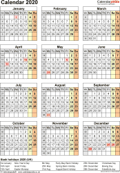 Download Template 17: Yearly calendar 2020 for PDF, portrait orientation, one A4 page