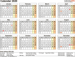 Template 9: Yearly calendar 2020 as PDF template, year at a glance, 1 page