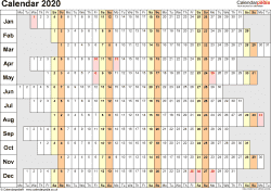 Template 7: Yearly calendar 2020 as Word template, landscape orientation, 1 page, linear (days horizontally, months vertically), with UK bank holidays and week numbers