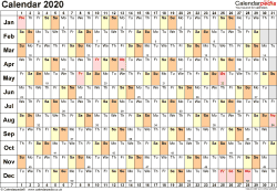 Template 6: Yearly calendar 2020 as Word template, landscape orientation, 1 page, linear (days horizontally, months vertically), with UK bank holidays and week numbers