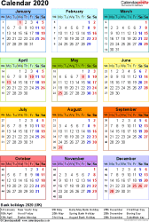 Template 10: Yearly calendar 2020 as PDF template, portrait orientation, year at a glance in colour, one A4 page