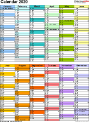 Template 12: Yearly calendar 2020 as PDF template, two half-year blocks on one A4 page