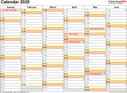 Download Template 3: Yearly calendar 2020 for PDF, landscape orientation, 2 pages, months horizontally, days vertically, with UK bank holidays and week numbers