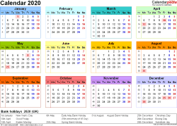 Template 8: Yearly calendar 2020 as PDF template, landscape orientation, year at a glance in colour, 1 page