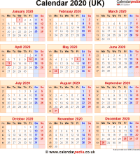 Download calendar 2020 (UK edition) as PNG file