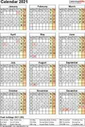Template 11: Yearly calendar 2021 as Word template, portrait orientation, one A4 page
