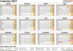 Download Template 9: Yearly calendar 2021 for PDF, year at a glance, 1 page