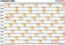 Template 6: Yearly calendar 2021 as Word template, landscape orientation, 1 page, linear (days horizontally, months vertically), with UK bank holidays and week numbers