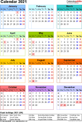 Template 10: Yearly calendar 2021 as Word template, portrait orientation, year at a glance in colour, one A4 page