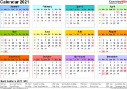 Download Template 8: Yearly calendar 2021 for PDF, landscape orientation, year at a glance, in colour, 1 page