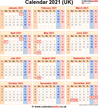 Download calendar 2021 (UK edition) as PNG file