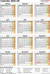Template 11: Yearly calendar 2022 as Excel template, portrait orientation, one A4 page
