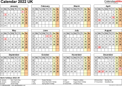 Template 9: Yearly calendar 2022 as Word template, year at a glance, 1 page