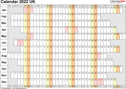 Template 7: Yearly calendar 2022 as Word template, landscape orientation, 1 page, linear (days horizontally, months vertically), with UK bank holidays and week numbers