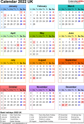Template 16: Yearly calendar 2022 as PDF template, portrait orientation, year at a glance in colour, one A4 page