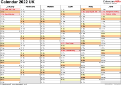 Template 3: Yearly calendar 2022 as Word template, landscape orientation, 2 pages, months horizontally, days vertically, with UK bank holidays and week numbers