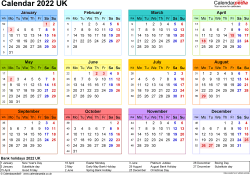 Template 8: Yearly calendar 2022 as PDF template, landscape orientation, year at a glance in colour, 1 page