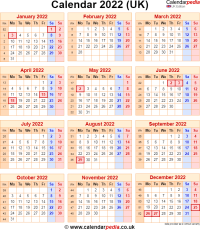 Calendar 2022 UK with bank holidays and week numbers
