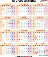 Download calendar 2022 (UK edition) as PNG file
