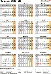 Template 18: Yearly calendar 2023 as PDF template, portrait orientation, one A4 page