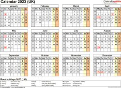 Download Template 9: Yearly calendar 2023 for PDF, year at a glance, 1 page