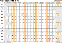 Template 7: Yearly calendar 2023 as PDF template, landscape orientation, 1 page, linear (days horizontally, months vertically), with UK bank holidays
