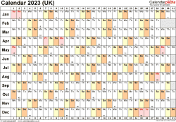 Download Template 6: Yearly calendar 2023 for PDF, landscape orientation, 1 page, linear (days horizontally, months vertically), with UK bank holidays and week numbers