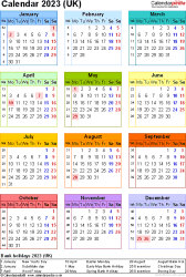 Template 17: Yearly calendar 2023 as PDF template, portrait orientation, year at a glance in colour, one A4 page